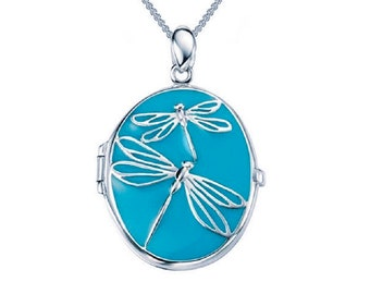 Personalized Sterling Silver Blue Dragonfly Locket Pendant Necklace