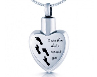 Personalized Stainless Steel Cremation Urn Necklace for Women * Small Keepsake Memorial Vial for Ashes *