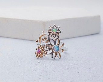US 6 | UK M | EU 52 Personalized Sterling Silver Opal Flower Ring for Women * Gemstone Nature Ring Design