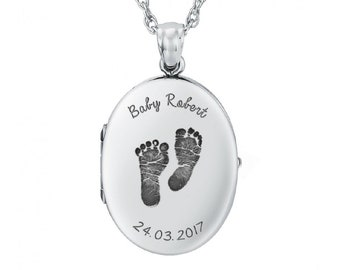 Personalized Sterling Silver Baby/Child Loss Locket Pendant Necklace