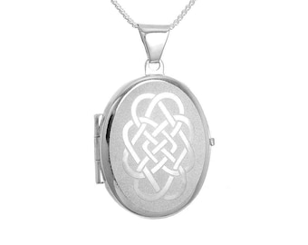 Personalised Celtic Locket Necklace * Silver Locket * Engraved Locket *  Picture Locket * Mourning Jewelry * Loss of Child Gift * Grief