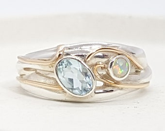 Blue Topaz, White Opal Ring * Sterling Silver * Rustic Organic Jewelry * Unique Womens Engagement Ring * Promise Ring