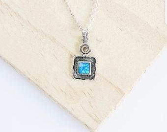 Victoria * Blue Opal Necklace * Sterling Silver * Square Opal * Opalite Necklace * Blue Opal Pendant * Opal Jewelry * Opal Pendant * Boho