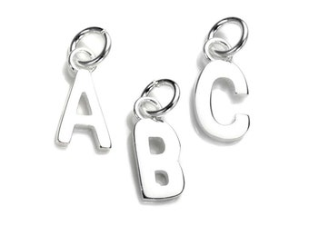 12mm Initial Shaped Charm * Sterling Silver * Ideal for Charm Bracelets * Block Capitals