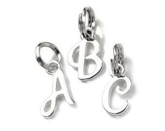 13mm Initial Shaped Charm * Sterling Silver * Ideal for Charm Bracelets * Script
