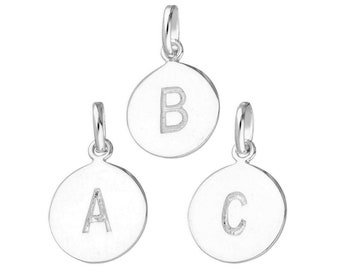 13mm Engravable Initial Disc Charm * Sterling Silver * Ideal for Charm Bracelets
