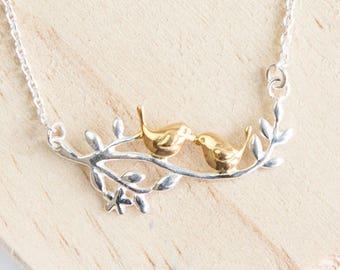 Personalised Love Bird Necklace * Sterling Silver * Bird Pendant * Bird Jewelry * Bird Gift * Bird Necklace * Woodland Bird *