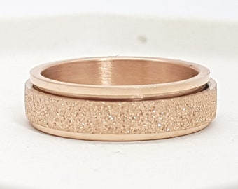 Personalised Rose Gold Spinner Ring * Stainless Steel * Boho * Anxiety, Meditation, Worry, Spinning Jewelry * Spin, Fidget