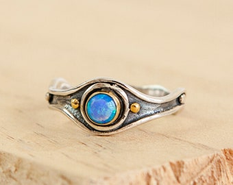 Oxidised Blue Opalite Ring * Sterling Silver * Rustic Organic Jewelry * Unique Womens Engagement Ring * Promise Ring