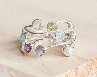 Chiyoku * Organic Ring * Sterling Silver * Organic Jewelry * Textured Organic Jewelry * Rustic Ring Gift * Fluid Ring * Rustic Jewelry *