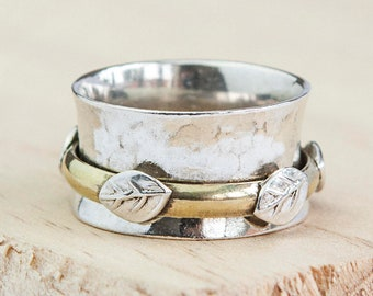 Personalised Leaf Spinner Ring * Sterling Silver * Boho * Anxiety, Meditation, Worry, Spinning Jewelry * Spin, Fidget
