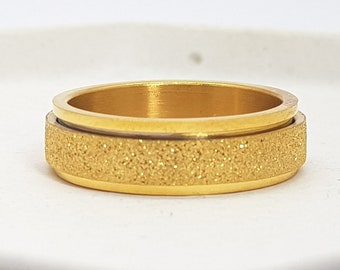 Personalised Yellow Gold Spinner Ring * Stainless Steel * Boho * Anxiety, Meditation, Worry, Spinning Jewelry * Spin, Fidget
