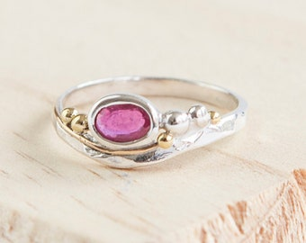 Pink Ruby Ring * Sterling Silver * Rustic Organic Jewelry * Unique Womens Engagement Ring * Promise Ring