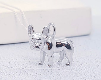 Sterling Silver French Bulldog Necklace for Men or Women * Frenchie Dog Animal Pendant Design