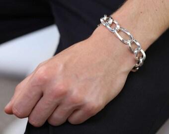 8in Sterling Silver Heavy Curb Bracelet for Men or Women