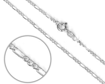 2mm Diamond Cut Figaro Chain * 14 16 18 20 22 24 inches * Sterling Silver