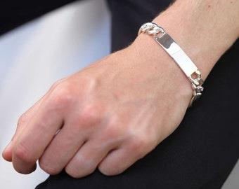 7in or 8in Personalized Sterling Silver Heavy Figaro Identity Bracelet