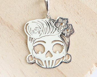 Personalised Sterling Silver Sugar Skull Pendant Necklace