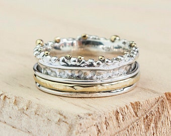 Personalised Organic Spinner Ring * Sterling Silver * Boho * Anxiety, Meditation, Worry, Spinning Jewelry * Spin, Fidget
