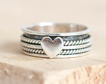 Personalised Heart Spinner Ring * Sterling Silver * Boho * Anxiety, Meditation, Worry, Spinning Jewelry * Spin, Fidget