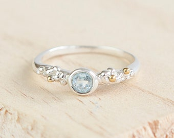 Slim Blue Topaz Bobble Ring * Sterling Silver * Rustic Organic Jewelry * Unique Womens Engagement Ring * Promise Ring