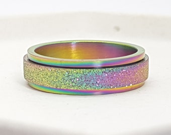 Personalised Rainbow Spinner Ring * Stainless Steel * Boho * Anxiety, Meditation, Worry, Spinning Jewelry * Spin, Fidget