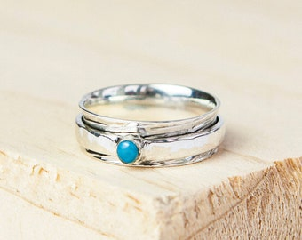 Turquoise Spinner Ring * Sterling Silver * Boho Ring * Anxiety and Meditation Ring * Worry Ring * Spinning Jewelry * Spin Ring * Fidget Ring