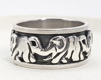 Personalised Elephant Spinner Ring * Sterling Silver * Boho * Anxiety, Meditation, Worry, Spinning Jewelry * Spin, Fidget