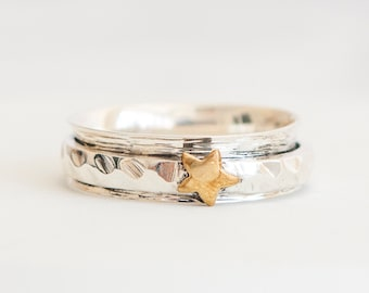 Single Star Spinner Ring * Sterling Silver * Boho Ring * Anxiety and Meditation Ring * Worry Ring * Spinning Jewelry * Spin, Fidget Ring