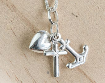 Personalised Faith Hope and Charity Necklace * Sterling Silver * Christian Faith * Hope Necklace * Faith Hope Love * Hope Jewelry * Faith *