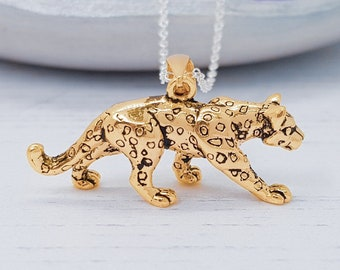 Personalized Sterling Silver and 18ct Gold Leopard Necklace for Men or Women * Big Cat Animal Pendant Design
