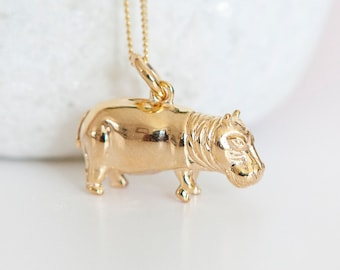 Personalised Gold Hippo Pendant Necklace