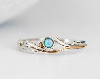 Personalised Sterling Silver Blue Opal Solitaire Organic Ring