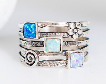 Personalised Oxidised Square Blue Opal Trio Sterling Silver Organic Ring