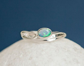 Personalised Sterling Silver Blue Opal Oval Organic Ring