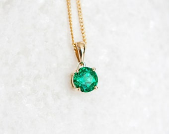 Personalised 9ct Yellow Gold Emerald May Birthstone Pendant Necklace