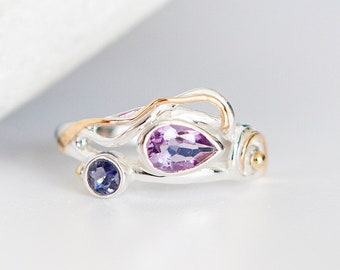 Personalised Amethyst and Iolite Sterling Silver Organic Ring