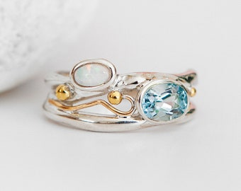 Personalised Sterling Silver Blue Topaz and White Opal Organic Ring