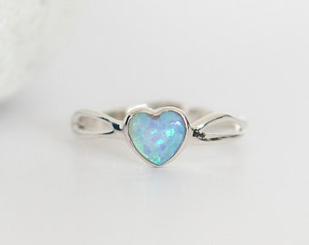 Personalised Blue Opal Sterling Silver Organic Heart Ring