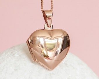 Personalised Rose Gold Heart Locket Pendant Necklace