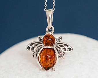 Personalised Sterling Silver and Amber Bee Pendant Necklace