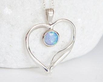 Personalised Blue Opal Sterling Silver Organic Quirky Heart Pendant Necklace
