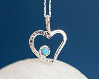Personalised Blue Opal Sterling Silver Organic Heart Pendant Necklace