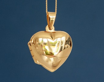Personalised Yellow Gold Heart Locket Pendant Necklace