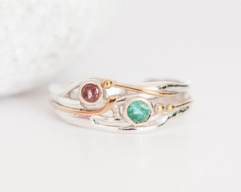 Personalised Sterling Silver Emerald and Tourmaline Organic Ring