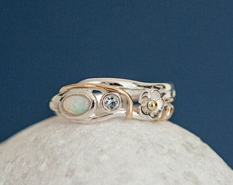 Personalised Blue Topaz and White Opal Sterling Silver Organic Flower Ring