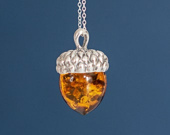 Personalised Sterling Silver Amber Acorn Pendant Necklace