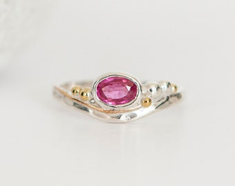 Personalised Oval Ruby Sterling Silver Organic Ring