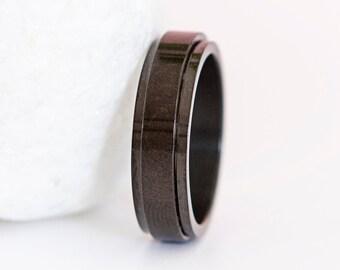 Personalised Stainless Steel Black Slim Spinner Ring