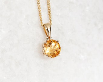 Personalised 9ct Yellow Gold Citrine November Birthstone Pendant Necklace